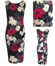 M&S Marks & Spencer Navy Blue Pink Floral Bodycon Pencil Dress 8 10 12 14 16 18