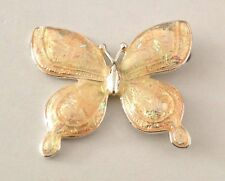 NEW HAND-ENAMELED BUTTERFLY BROOCH PIN: SCARF HOLDER: SILVER-PLATED JEWELRY