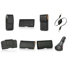 Leather Holster Belt Clip Case Cover Pouch+Aux+Charger for Apple iPhone 5 5S