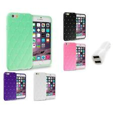 For Apple iPhone 6 (4.7) Diamond Bling Silicone Case Cover Car Charger