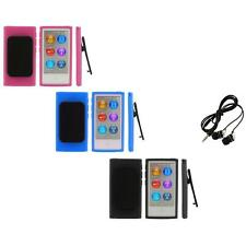 Color TPU Rubber Case Cover Belt Clip+Headphones for iPod Nano 7th Gen 7 7G