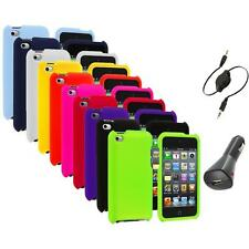 Color Hard Rubberized Case Cover+Aux+Charger for iPod Touch 4th Gen 4G 4
