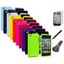 Color Hard Rubberized Case Cover+LCD+Charger+Pen for iPod Touch 4th Gen 4G 4