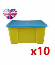 10x 50 Litre Large Size Storage Container! Yellow Box + Light Blue Lid Trendy!