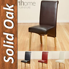Faux Leather Dining Chairs Roll Top Scroll Back Oak Legs Brown Black Red Ivory