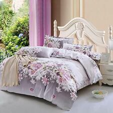 Zippered Floral Duvet Cover+Pillowcase Bedding Set Single Double King Super King