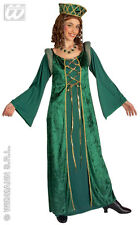 Ladies Medieval Tudor Queen Costume Green Fancy Dress Princess Outfit L XL XXL