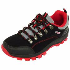 BLACK RED LACE-UP SPORTS RUNNING WALKING HIKING TRAINERS SHOES PUMPS SIZES 6-9