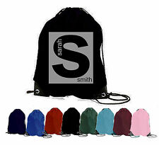 PERSONALISED GYM BAG INTIAL NAME SAC TEXT SWIM SPORTS PE SCHOOL DRAWSTRING DANCE