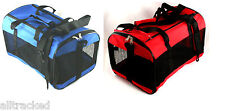 Collapsible Pet Carrier Mesh Cat Dog Carrying Handle Red & Blue Fold Up Away