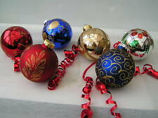 Set of 12 Vintage Style Christmas Glass Baubles Multi Coloured Brand New (09)