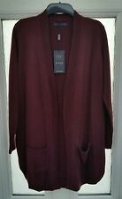 M&S Luxury Collection  pure cashmere open front jumper cardigan Burgundy size 10