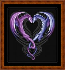 KISSING DRAGONS -14 COUNT CROSS STITCH CHART PDF/PRINTED  FREE PP WORLDWIDE