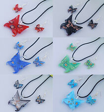MURANO GLASS BUTTERFLY NECKLACE AND EARRINGS