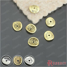 100PCS 9*8MM Alloy Round Curved Disks Spacer Beads Jewelry Findings 25882