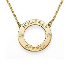 18k Yellow Gold Plated Engraved Circle Necklace with Clear Crystals