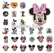 1PC Minnie Mickey Mouse Motif Embroidered Patch Iron Sew On Applique Accessory