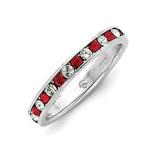 Sterling Silver Red CZ Eternity Wedding Band Ring Size 6 to 8