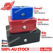 Portable Sturdy Metal Money Box Cash Box with Coin Tray Petty Cash new 3 colors