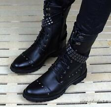 Men' fashion leather pointy toe riveted motorcycle casual ankle punk boots new #