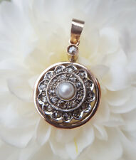 Edwardian Inspired 9ct Rose Gold, Diamond & Pearl Round Target Pendant Necklace
