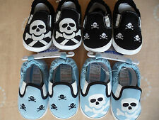 New Baby Boys Skull and Crossbones Soft Slip On Pram Shoes