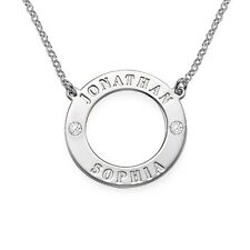 Sterling Silver Personalized Circle Necklace with Clear Birthstones