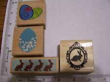 WM RUBBER STAMPS HAPPY EASTER  EGG  Borders Bunny Rabbits Cameo Postal Seal