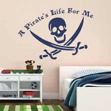 A Pirate's Life For Me Jolly Roger Pirate Skull Vinyl Wall Decal sticker K270W