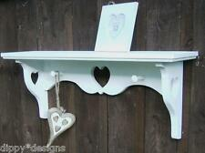 Hand made by craftsman country shabby chic wall shelf 3 hearts 2 shaker pegs
