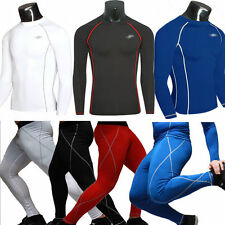Mens Compression Under Base Layer Hiking Thermal Long Sleeve Top Leggings Pants