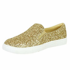 Ladies/Womens Trainers Slip On Glitter Thick Sole Pumps Plimsolls Flats Sneakers