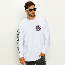 New Stussy Checkered CM LS T-Shirt in White | Mens Mens Tees