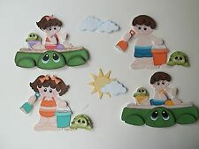 3D-U Pick - Summer Girl BoyTurtle Sandbox Scrapbook Card Embellishment 901