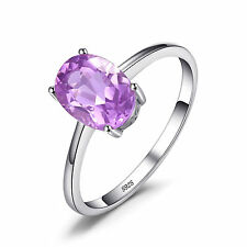 JewelryPalace Genuine Amethyst Solitaire Ring 925 Sterling Silver Oval Fashion