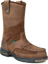 Georgia Athens Mens Brown Leather Waterproof Wellington Work Boots