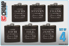 Groomsman Gifts Set of 4 Personalized Engraved Flask, Wedding Bridesmaid Party