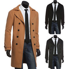New Winter Mens Slim Stylish Trench Wool Coat Double Breasted Long Jacket Blends