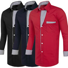 Mens Long Sleeve Casual Shirt Dress Formal Business Wedding Slim Fit Tops New