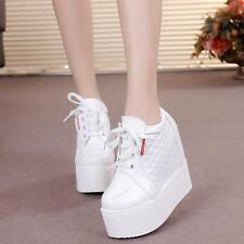 Ladies Fashion High top Sport Sneakers Lace-up Wedge Platform High-heels shoes #