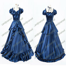 Victorian Southern Belle Prom Dress Gown Theater Reenactment Clothing Blue