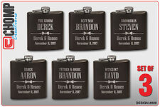 3 Personalized Engraved Flasks, Groomsman Gifts, Wedding Bridesmaid Party