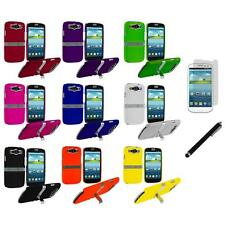 Hard Cover Case Chrome Stand+LCD Film+Stylus for Samsung Galaxy S3 S III Phone