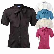 Ladies Womens Plus Size Work Office Blouse Shirt Short Sleeve Satin Pussy Bow