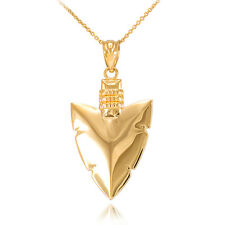 14k Yellow Gold Arrowhead Pendant Necklace Native Protection, Strength, Courage