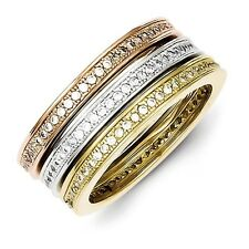 Sterling Silver Micro Pave CZ Vermeil Trio Stackable Ring 7.35 gr Size 6 to 8