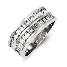 Sterling Silver Twin Row Clear CZ Band Ring Size 6 to 8