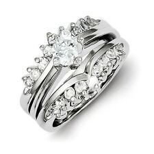 Sterling Silver Fancy Clear CZ Wedding Ring Set 7.01 gr Size 6 to 8