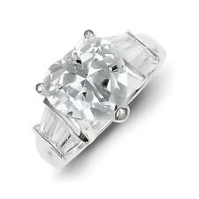 Sterling Silver Heart Shaped Clear CZ Wedding Ring 6.38 gr Size 6 to 8