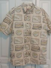 Woolrich Short Sleeve Button Front Shirt  Fishing Theme